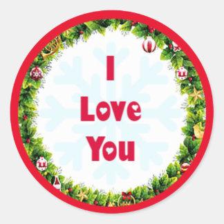 I Love You Christmas Classic Round Sticker