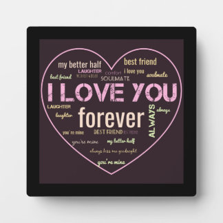I love you couples word art decor plaque