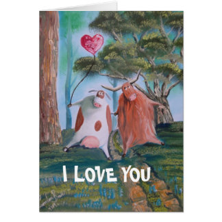 I Love You ! cows Card