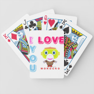 I Love You-Cute Monkey-Morocko Bicycle Playing Cards