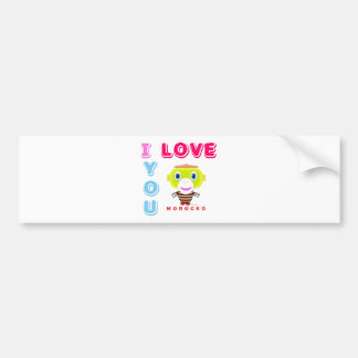 I Love You-Cute Monkey-Morocko Bumper Sticker