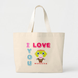 I Love You-Cute Monkey-Morocko Large Tote Bag