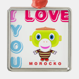 I Love You-Cute Monkey-Morocko Metal Ornament
