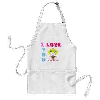 I Love You-Cute Monkey-Morocko Standard Apron