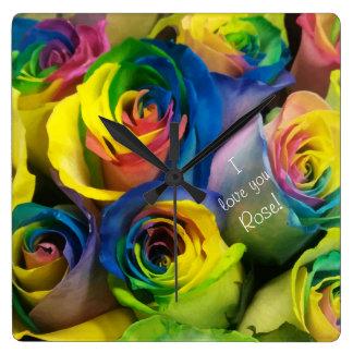 I love you Cute Personalized Rainbow Roses Wallclock
