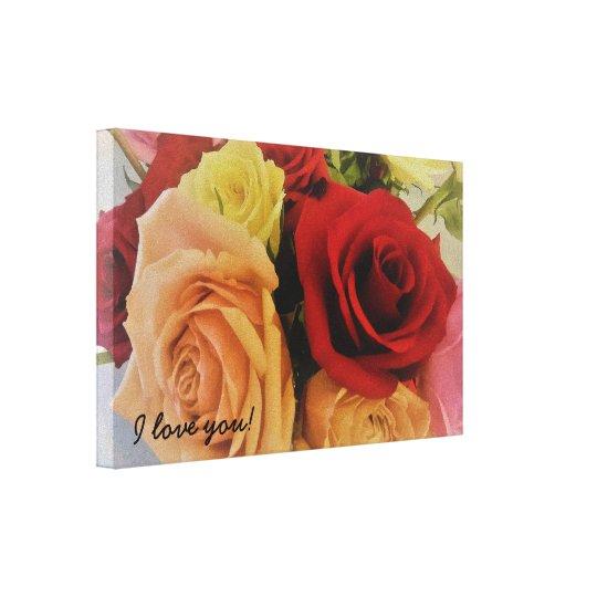 I love you Cute Romantic Roses Canvas Print