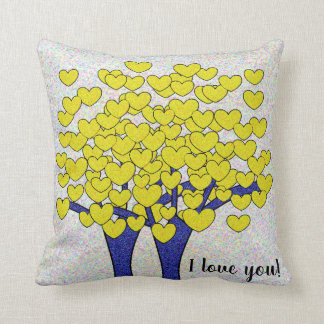 I love you Cute Sparkly Gold Hearts Tree Design Throw Pillow