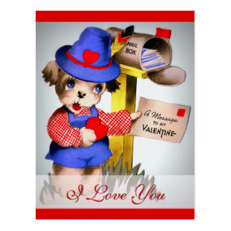 I Love You Cute Vintage Valentine Dog Mailbox Postcard
