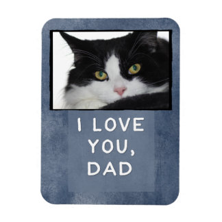 I Love You, Dad Dark Blue Custom Cat Photo Magnet