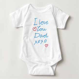 """I love you Dad xoxo"" handwritten message Baby Bodysuit"