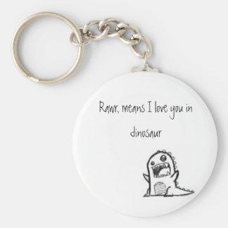 I love you dinosaur basic round button keychain
