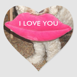 I love you dog with lips heart sticker