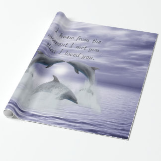I love you dolphins wrapping paper