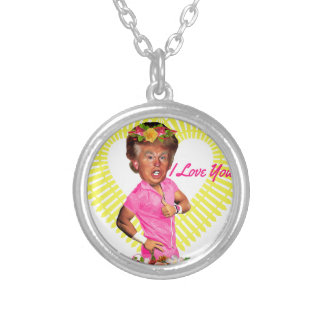 i love you donald trump silver plated necklace