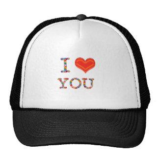 I LOVE YOU Elegant Script of Love n Romance GIFT Mesh Hats