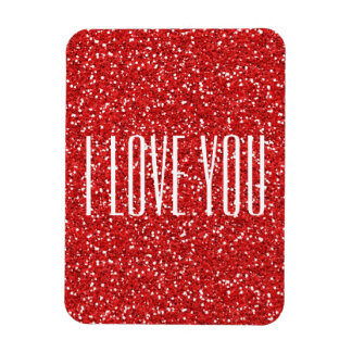 I Love You Faux Glitter or Your Own Text Magnet