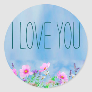 I love You Floral and Sky Round Sticker