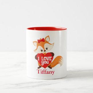 I love you fox with heart Two-Tone coffee mug