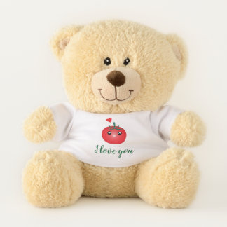 I Love You From My Head Tomatoes Cute Funny Pun Teddy Bear