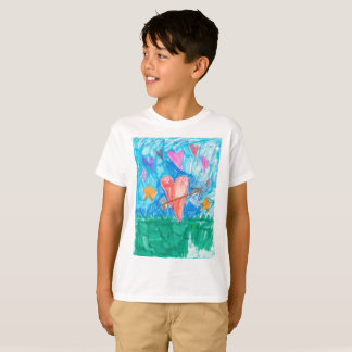 I love you fun kids shirt with heart being cupid