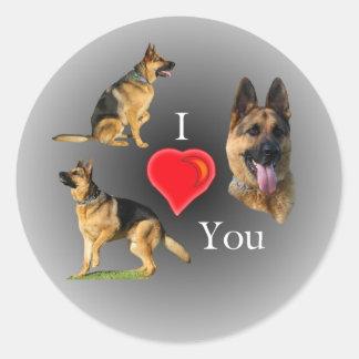 I Love You German Shepherd Classic Round Sticker