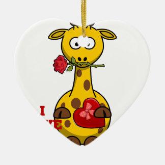 i love you giraffe ceramic ornament