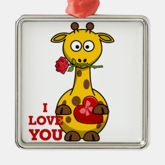 i love you giraffe metal ornament
