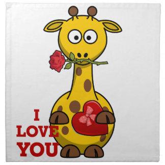 i love you giraffe napkin