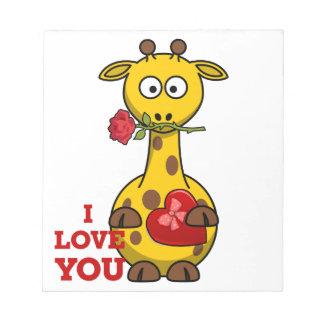 i love you giraffe notepad