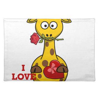 i love you giraffe placemat