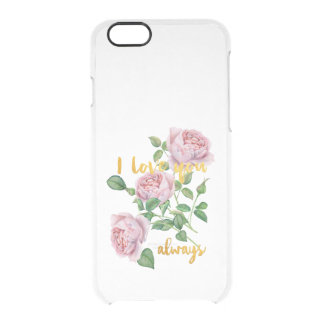 I love you-Gold Foil Saying Flower floral Clear iPhone 6/6S Case