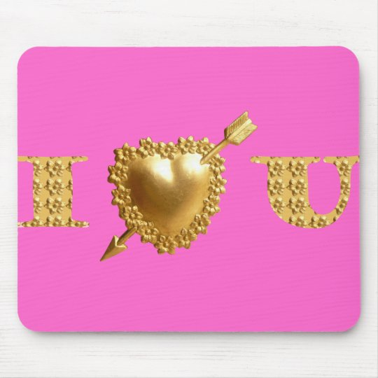 I LOVE YOU. Gold, jewelled I Heart You. Mouse Pad