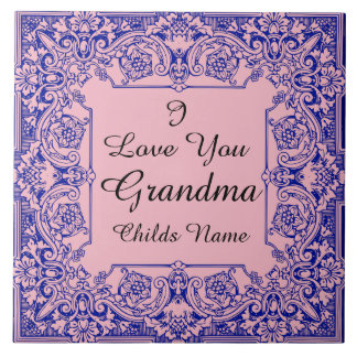 I LOVE YOU GRANDMA-CHANGEABLE BACKGROUND COLOR TILE