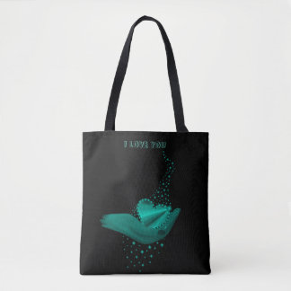 I love You , green Rainbow Heart with Stars Tote Bag