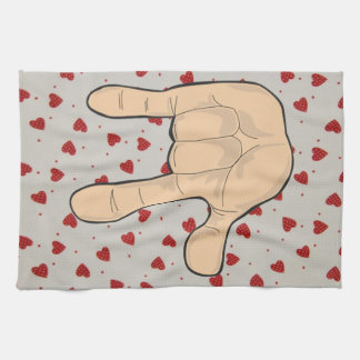 I LOVE YOU HAND GESTURE HAND TOWEL