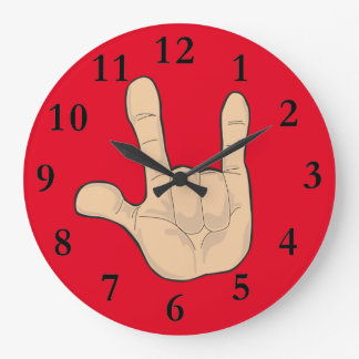 I LOVE YOU HAND GESTURE LARGE CLOCK