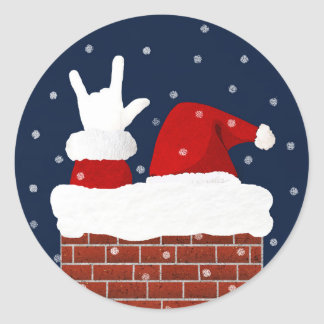 I Love You Handshape ASL Santa Christmas Sticker