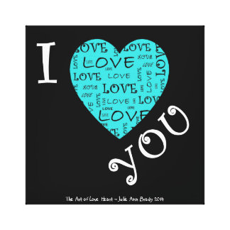 I Love YOU Heart Stretched Canvas Prints