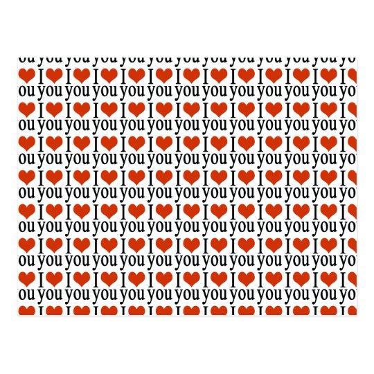 I love you - heart postcard