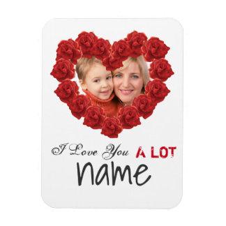 I love you heart roses custom photo Magnet