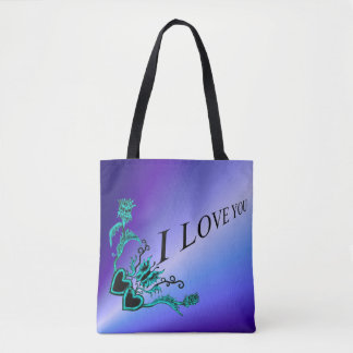 I love You , Heart with Flower and Butterfly Tote Bag