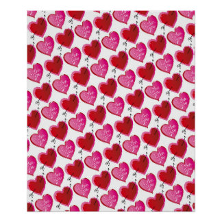 I Love You Hearts Poster