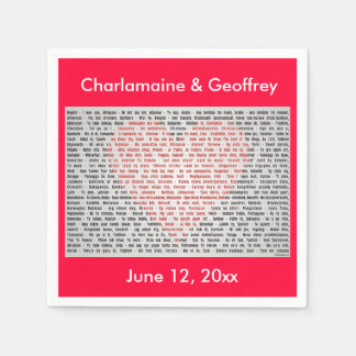 I Love You in 100 Languages Red Heart paper napkin