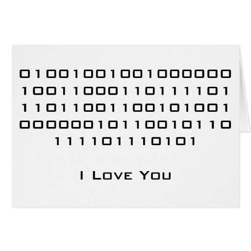 """I Love You"" in Binary Code Note Card"