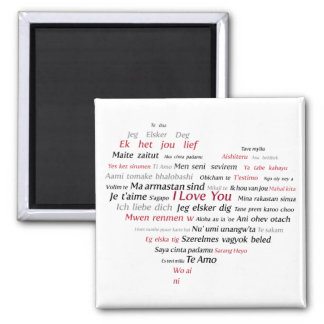 I Love You (in many languages) Square Magnet