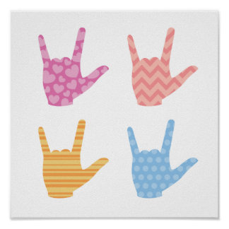 I Love You in Sign Language ASL Colors & Patterns Poster