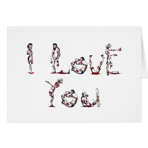 I Love You in Zombie Font Cards