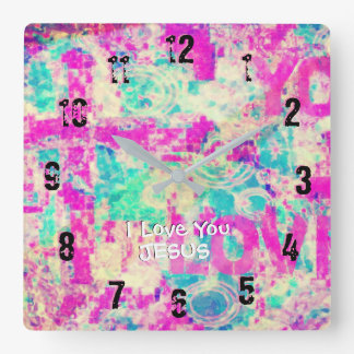 I Love You JESUS Square Wall Clock