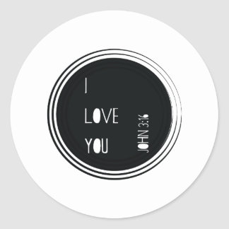 """I love you"" John 3:16 Christian Verse Classic Round Sticker"