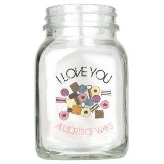 I Love You Licorice Allsorts Valentine's Day Candy Mason Jar